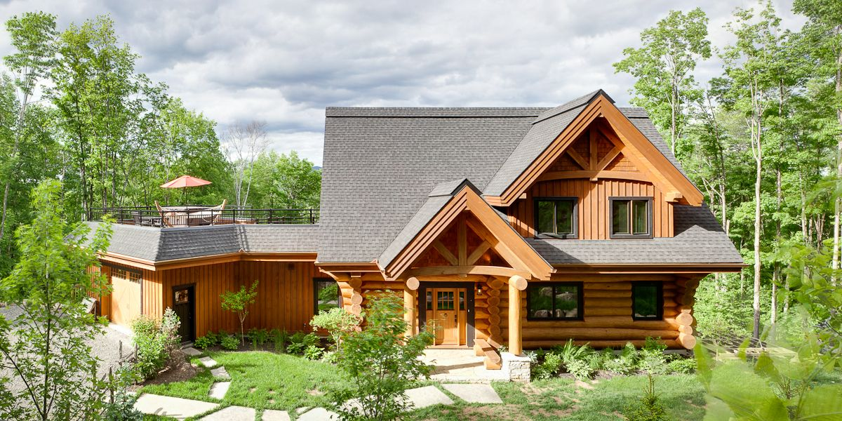 Log home Mont Tremblant project Harkins # Maison En Bois Rondin