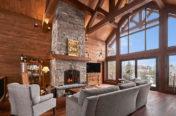 Charpente maison bois massif - salon