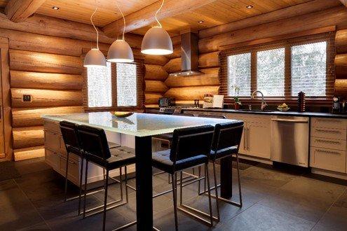 cuisine maison bois rond table en verre