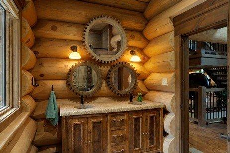 entrée maison bois rond