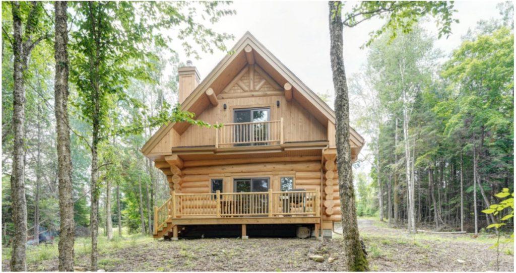 Maison en bois rond avec arbres